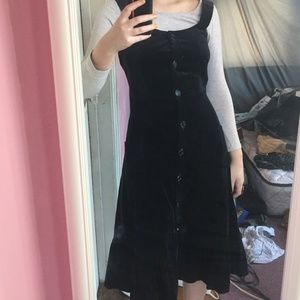 2 for 100- VINTAGE Black Velvet Button Down Dress